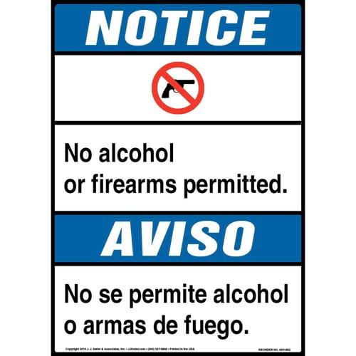 Notice: No Alcohol, Firearms Permitted Bilingual Sign with Icon - ANSI (013542)
