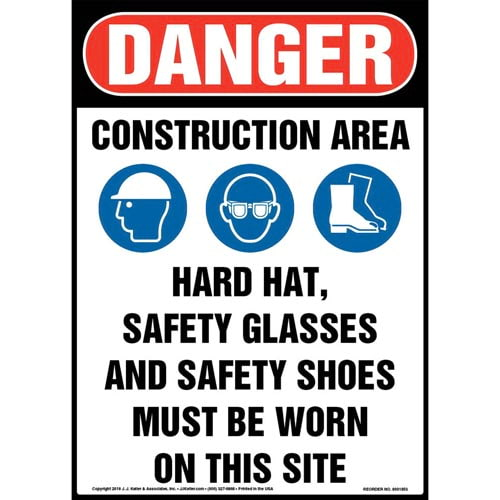Danger: Construction Area, PPE Must Be Worn Sign with Icons - OSHA (013543)