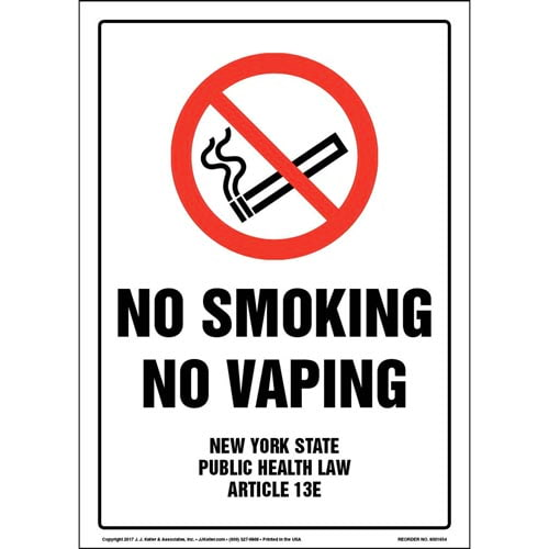 New York State Public Health Law: No Smoking or Vaping Sign (013516)