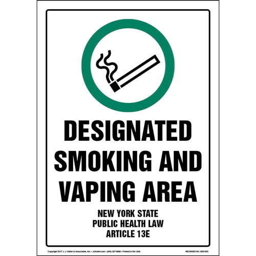 New York State Public Health Law: Designated Smoking and Vaping Area Sign (013517)