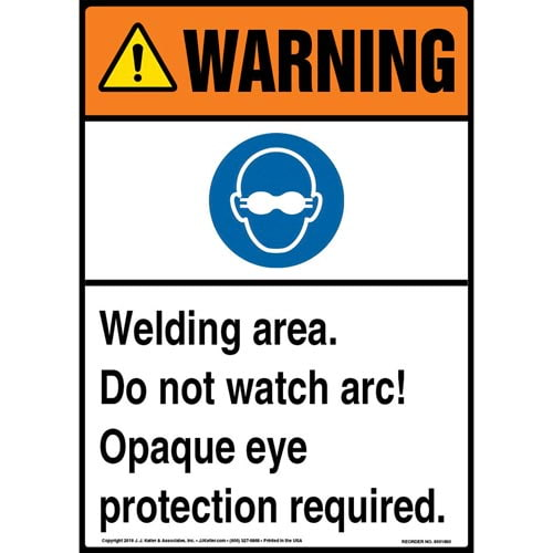 Warning: Welding Area, Eye Protection Required Sign with Icon - ANSI (013522)