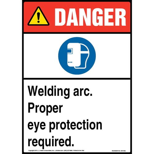 Danger: Welding Arc, Eye Protection Required Sign with Icon - ANSI (013524)