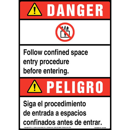 Danger: Follow Confined Space Entry Procedure Bilingual Sign with Icon - ANSI (013528)