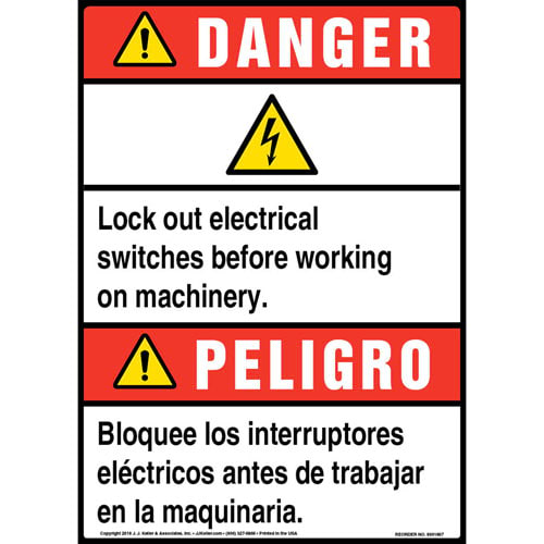 Danger: Lock Out Electrical Switches Bilingual Sign with Icon - ANSI (013529)