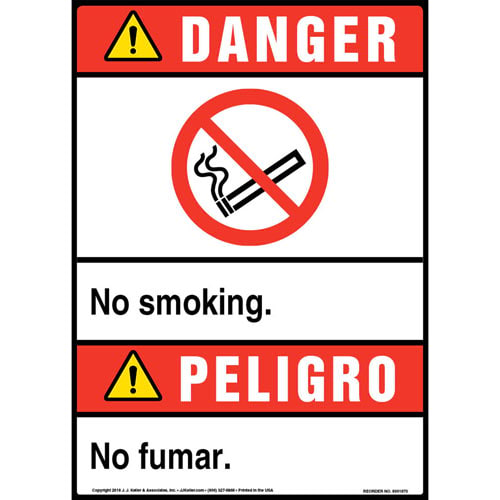 Danger: No Smoking Bilingual Sign with Icon - ANSI, Portrait (013532)