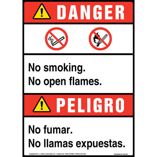 Danger: No Smoking, No Open Flames Bilingual Sign with Icons - ANSI (013533)