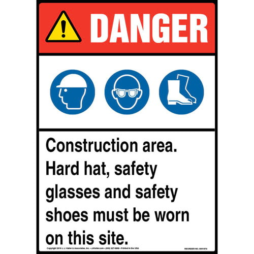 Danger: Construction Area, PPE Must Be Worn Sign with Icons - ANSI (013544)