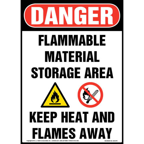 Danger: Flammable Material Storage Area, Keep Heat/Flames Away Sign with Icons - OSHA (013545)