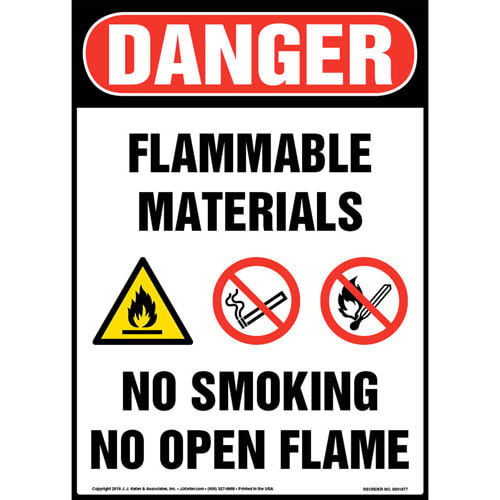 Danger: Flammable Materials, No Smoking, No Open Flame Sign with Icons - OSHA (013547)