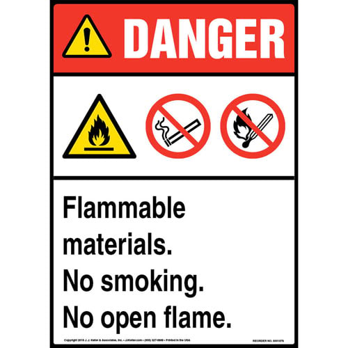 Danger: Flammable Materials, No Smoking, No Open Flame Sign with Icons - ANSI (013548)
