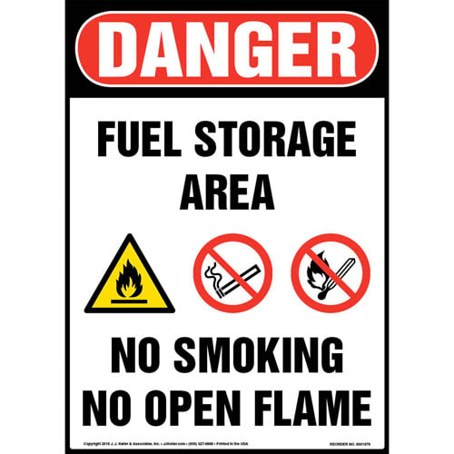 Danger: Fuel Storage Area, No Smoking, No Open Flame Sign with Icons - OSHA (013549)