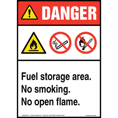 Danger: Fuel Storage Area, No Smoking, No Open Flame Sign with Icons - ANSI (013550)