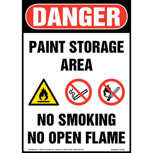 Danger: Paint Storage Area, No Smoking, No Open Flame Sign with Icons - OSHA (013551)