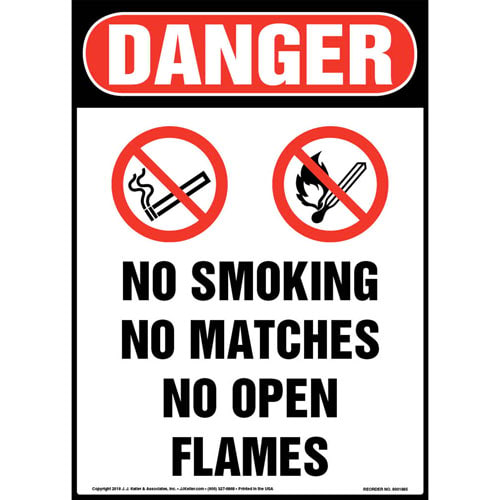 Danger: No Smoking/Matches/Open Flames Sign with Icons - OSHA (013555)