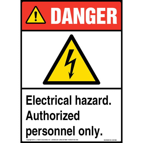 Danger: Electrical Hazard, Authorized Personnel Only Sign with Icon - ANSI (013558)
