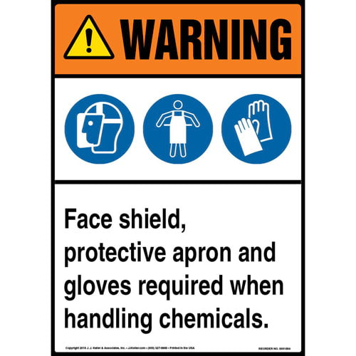 Warning: Face Shield, Protective Apron, Gloves Required When Handling Chemicals Sign with Icons - ANSI (013562)