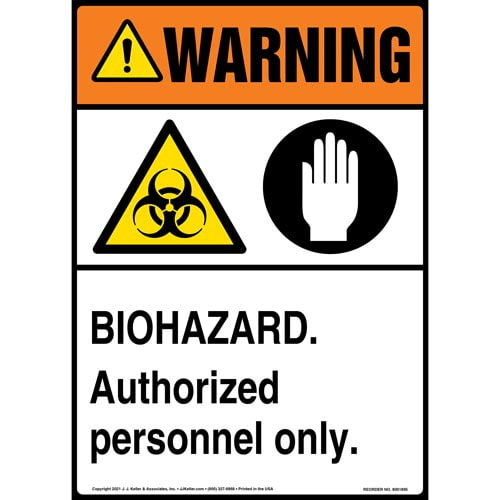 Warning: Biohazard, Authorized Personnel Only Sign with Icon - ANSI (013563)