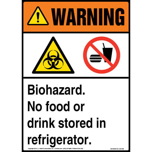 Warning: Biohazard, No Food or Drink Stored in Refrigerator Sign with Icons - ANSI (013564)