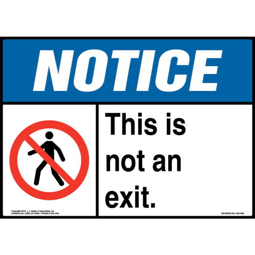 Notice: This Is Not An Exit Sign with Icon - ANSI, Landscape (013566)