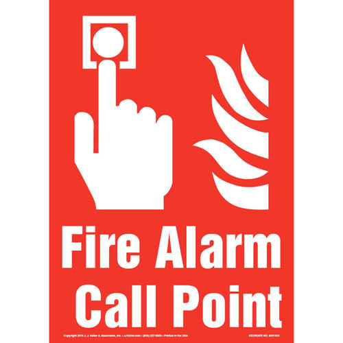 Fire Alarm Call Point Sign with Icon - Portrait (013573)