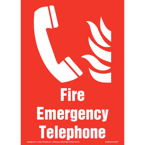 Fire Emergency Telephone Sign with Icon - Portrait (013574)