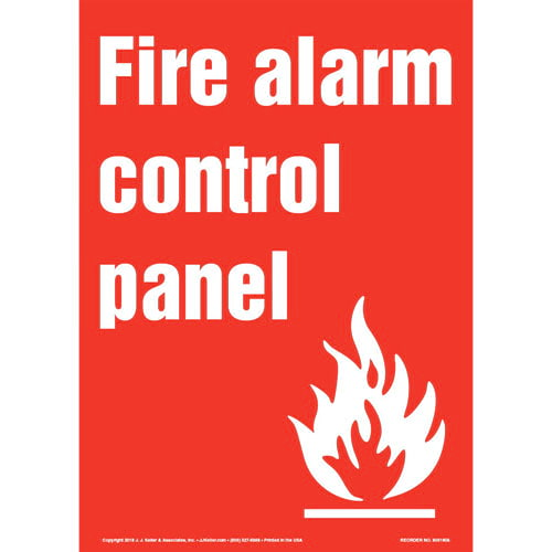 Fire Alarm Control Panel Sign with Icon - Portrait (013575)