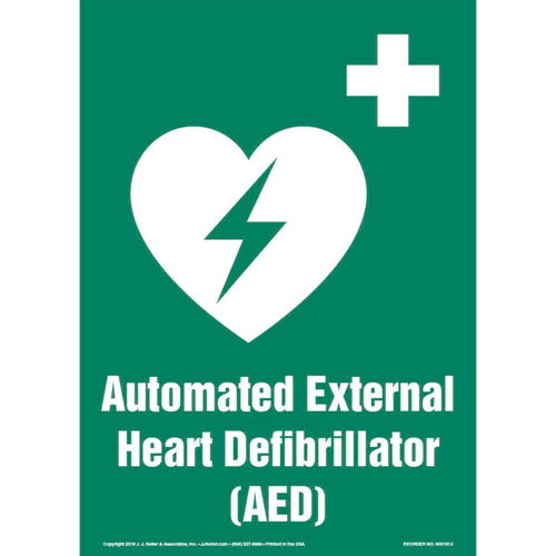 Automated External Heart Defibrillator (AED) Sign with Icon (013579)