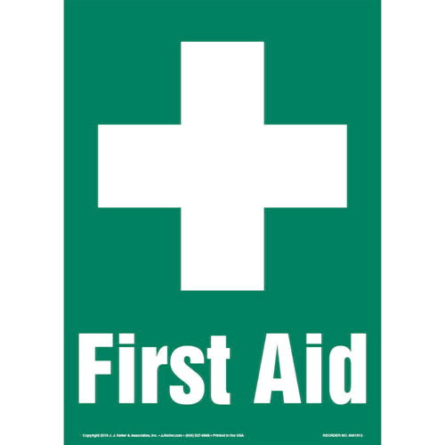 First Aid Sign with Icon - Portrait (013580)