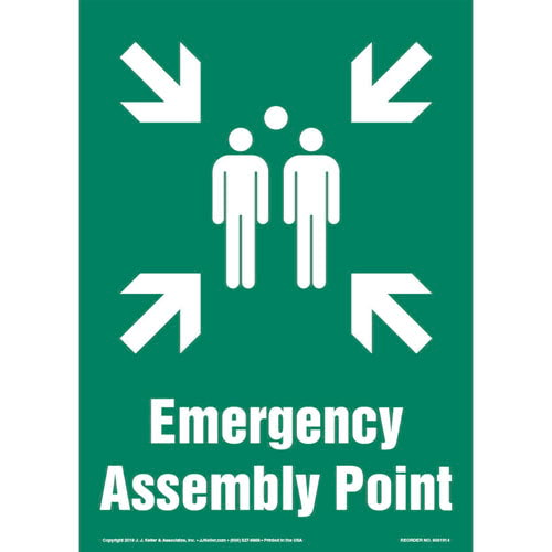 Emergency Assembly Point Sign with Icon - Portrait (013581)