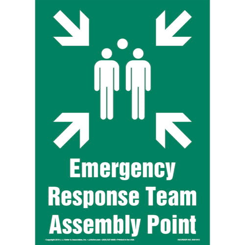 Emergency Response Team Assembly Point Sign with Icon - Portrait (013582)