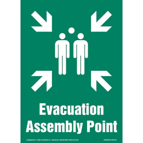 Evacuation Assembly Point Sign with Icon - Portrait (013583)