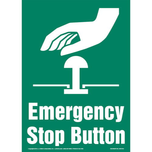 Emergency Stop Button Sign with Icon - Portrait (013585)