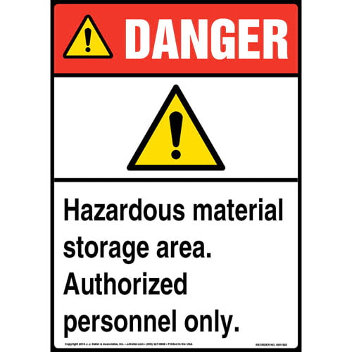 Danger: Hazardous Material Storage Area, Authorized Personnel Only Sign with Icon - ANSI (013587)