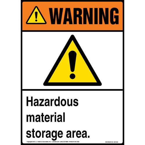 Warning: Hazardous Material Storage Area Sign with Icon - ANSI (013588)