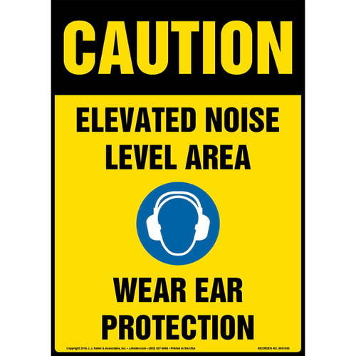 Caution: Elevated Noise Level Area, Wear Ear Protection Sign with Icon - OSHA (013600)