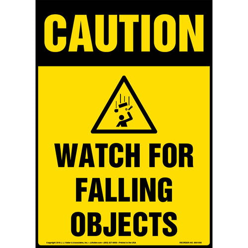 Caution: Watch For Falling Objects Sign with Icon - OSHA (013602)