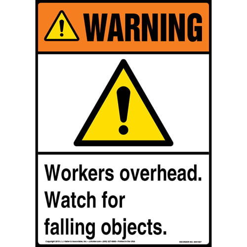 Warning: Workers Overhead, Watch for Falling Objects Sign with Icon - ANSI (013604)