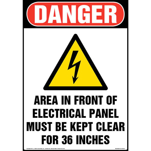 Danger: Area In Front Of Electrical Panel Must Be Kept Clear Sign with Icon - OSHA (013607)