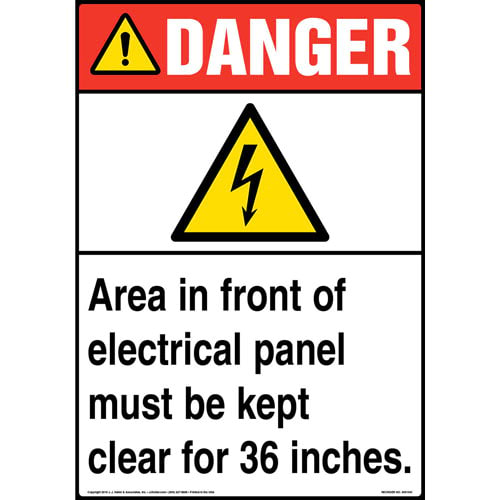 Danger: Area In Front Of Electrical Panel Must Be Kept Clear Sign with Icon - ANSI (013608)