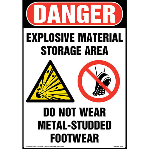 Danger: Explosive Material Storage Area Sign with Icons - OSHA (013609)