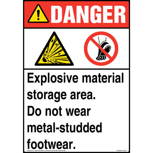 Danger: Explosive Material Storage Area Sign with Icons - ANSI (013610)