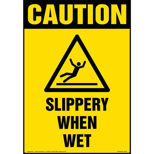 Caution: Slippery When Wet Sign with Icon - OSHA, Portrait (013611)