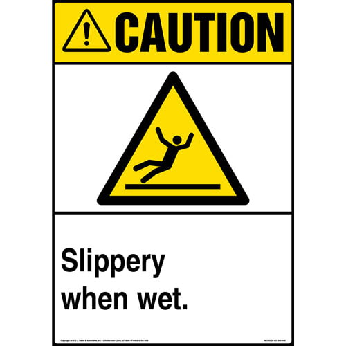 Caution: Slippery When Wet Sign with Icon - ANSI, Portrait (013612)