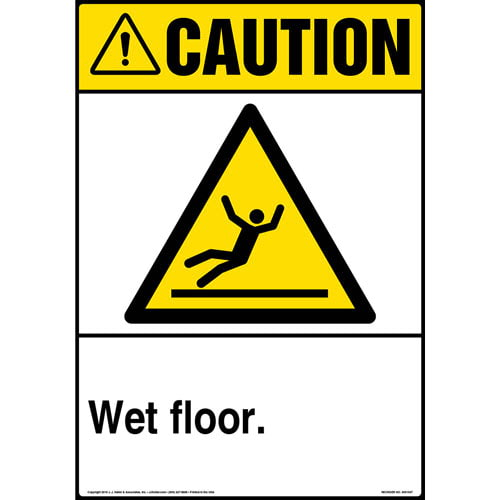 Caution: Wet Floor Sign with Icon - ANSI, Portrait (013614)