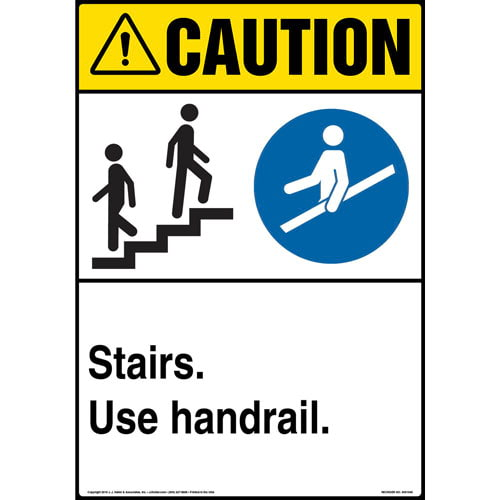 Caution: Stairs, Use Handrail Sign with Icons - ANSI, Portrait (013616)