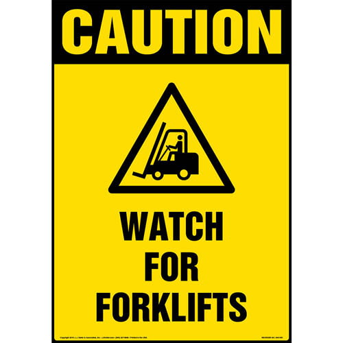 Caution: Watch For Forklift Sign with Icon - OSHA, Portrait (013618)