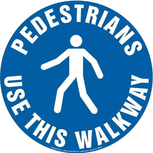 Pedestrians: Use This Walkway Sign with Icon - Round (013620)