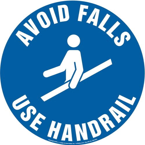 Avoid Falls, Use Handrail Sign with Icon - Round (013621)