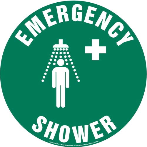 Emergency Shower Sign with Icon - Round (013624)