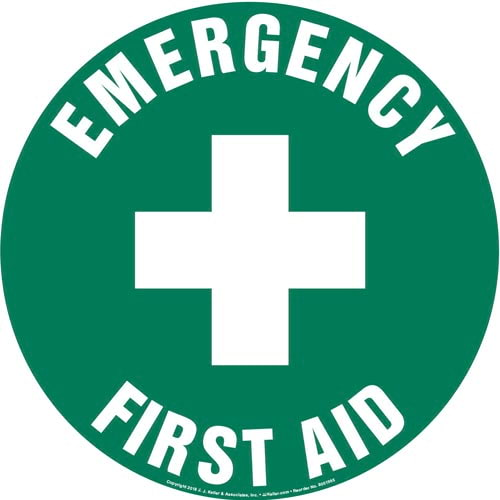 Emergency First Aid Sign with Icon - Round (013625)